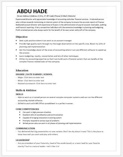 Accounting Director Resume DOWNLOAD at   writeresume2org