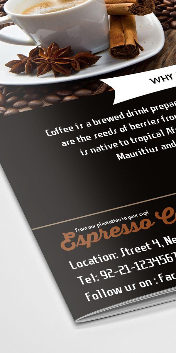Freebie Coffee Shop BiFold Brochure Template Free PSD Files