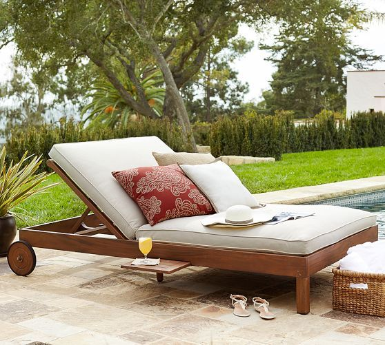 Ham Fsc Mahogany Double Chaise, Double Chaise Lounge Outdoor