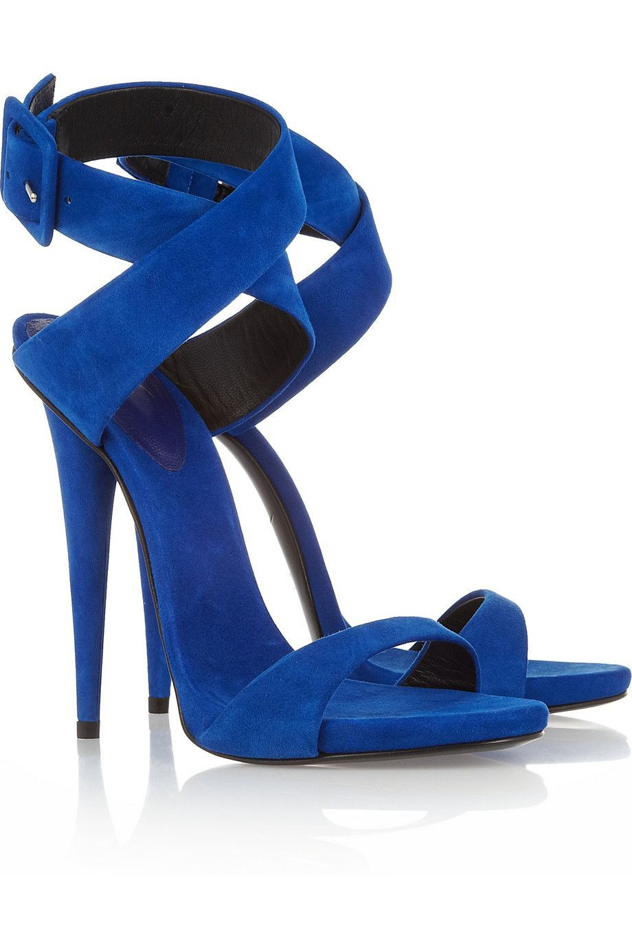 Heels, Blue shoes, Blue suede sandals