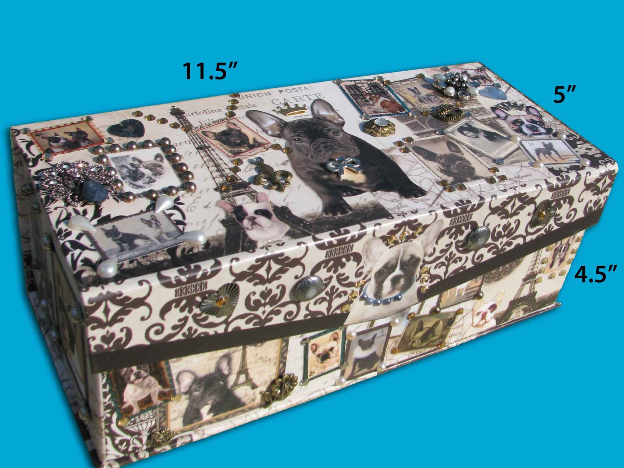Embellished Parisian Jewelry Box With Eiffel Tower French Bulldogs
