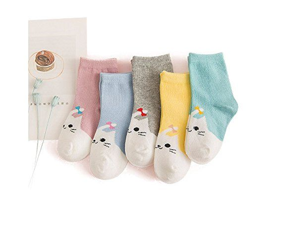 Eple Unisex Baby Cute Cat and Puppy Cartoon Socks Toddler Cotton Socks for Boys and Girls- 5 Pairs (Large (7-10 years), Cat5 Pairs)