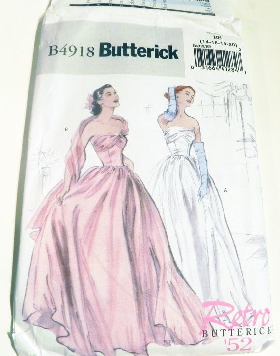 1950s Gown Wedding Bridal Prom Dress Sewing Pattern Butterick 4918