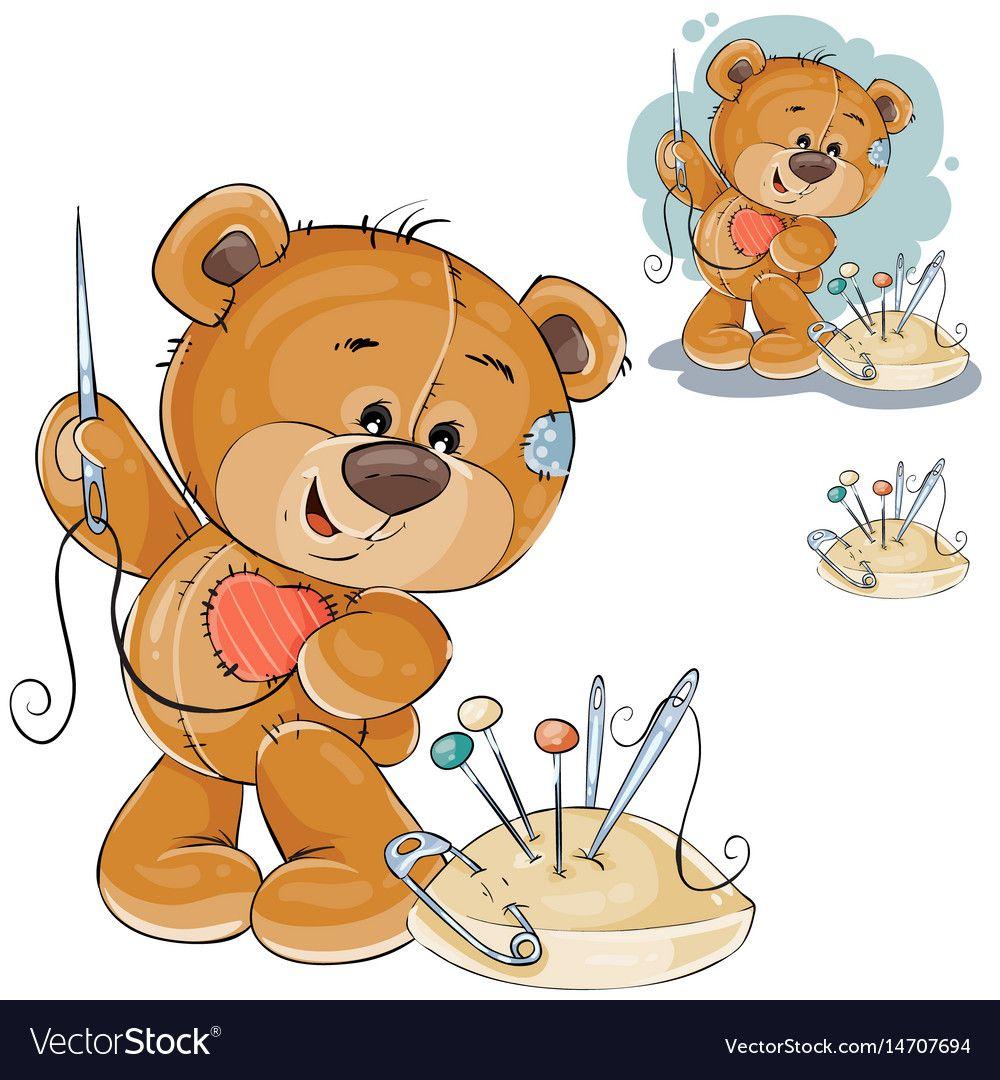 A Teddy Bear Sewing On Royalty Free Vector Image Bear Sketch Teddy Bear Bear Illustration