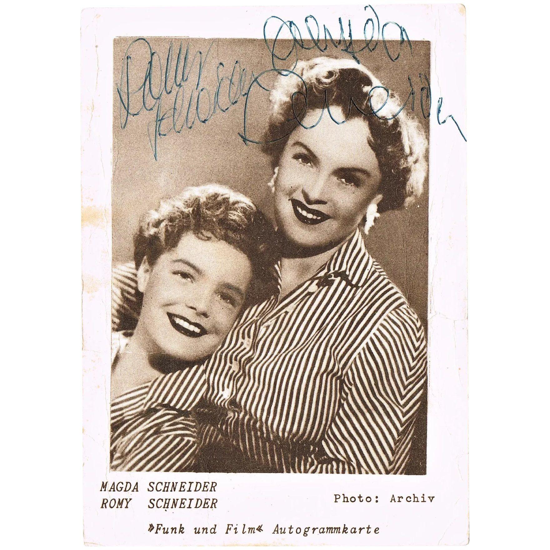 Romy Schneider And Magda Schneider Autographs On Postcard Coa Romy Schneider Magda Schneider Postcard