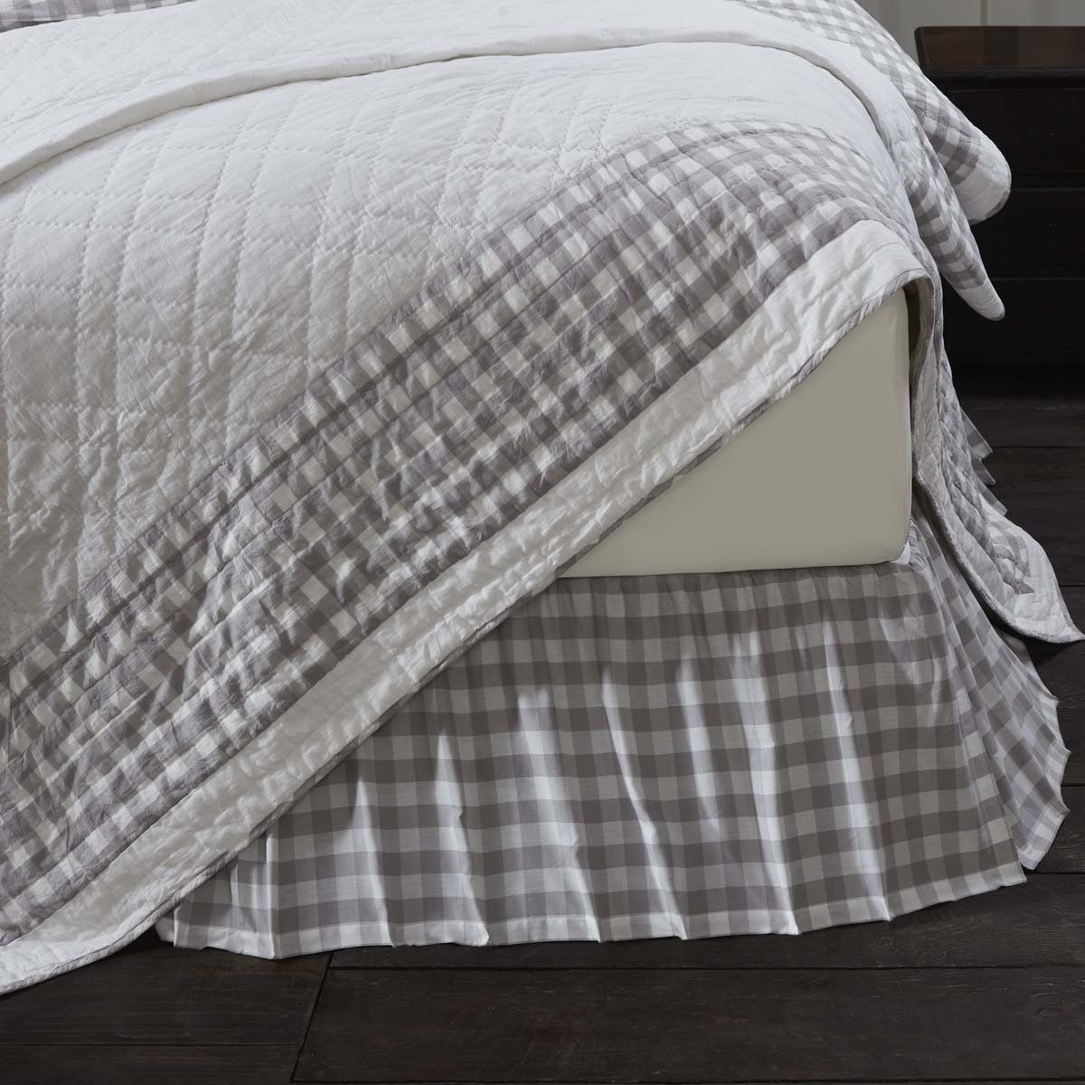 Annie Buffalo Check Grey King Bed Skirt Buffalo Check Bedding