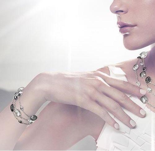 Swarovski Black/White Crystal JEWELRY Silver Rhodium Bracelet PAMELA 5017066