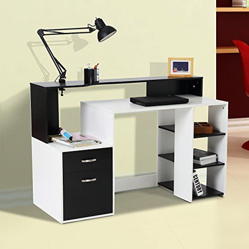 Computer Desk with Cupboard Shelves Storage Home Office Table Desk with Drawer