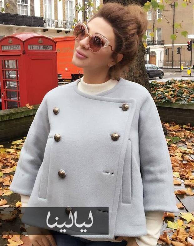 صور أناقة ميريام فارس بالحمل على طريقة كيم كارداشيان موقع ليالينا Fashion Peacoat Coat