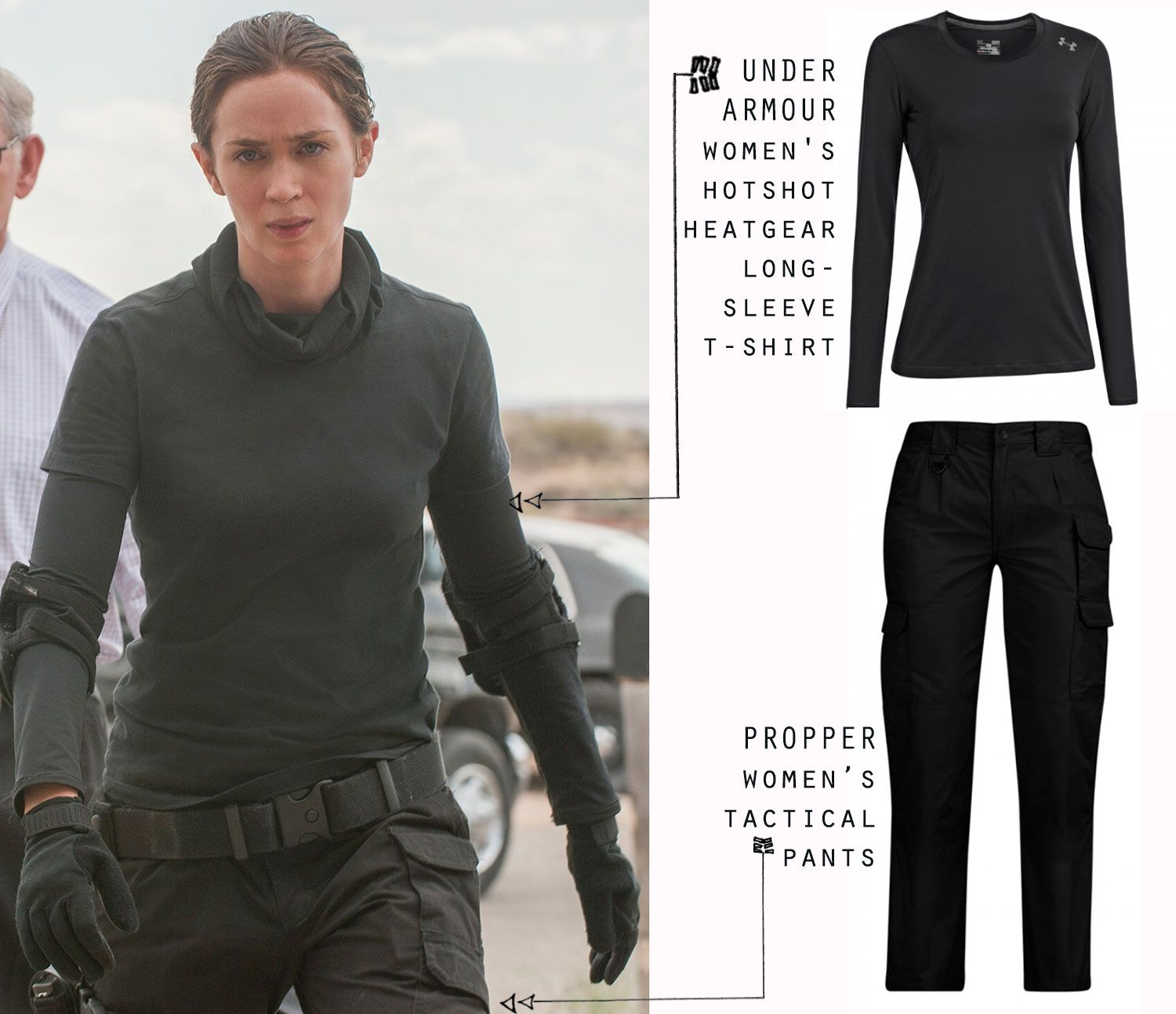 Emily Blunt Sicario Kate Macer Black Tactical Outfit Ua