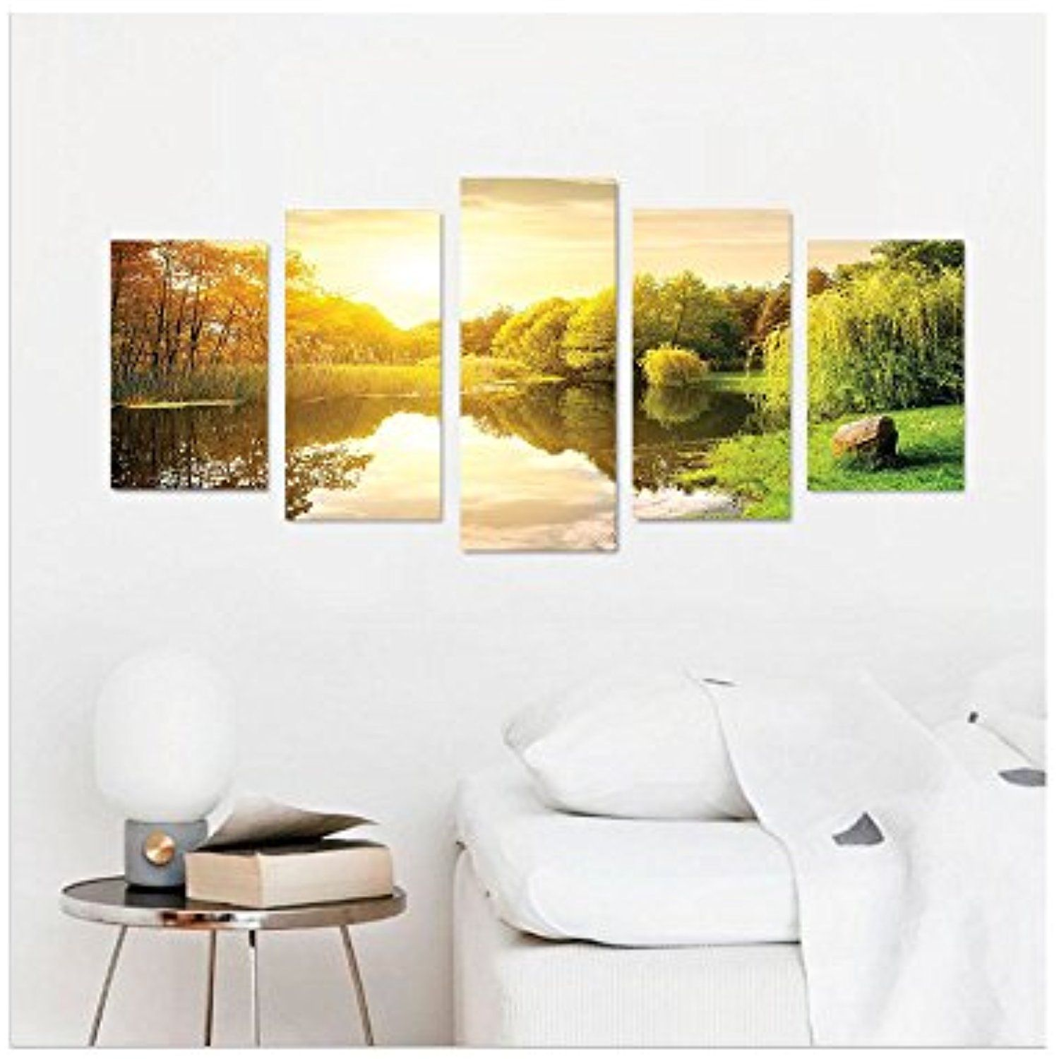 Liguo88 Custom canvas Lake House Decor Collection Sunset Over Calm ...