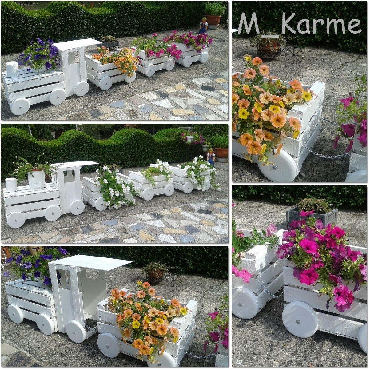 Tren jardinera hecho con cajas de fruta recicladas ideas - Jardineras para jardin ...
