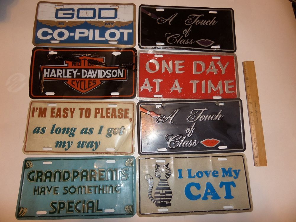 8 LOT MISC PLATE COVERS FRONTS I'M EASY TO PLEASE,HARLEY