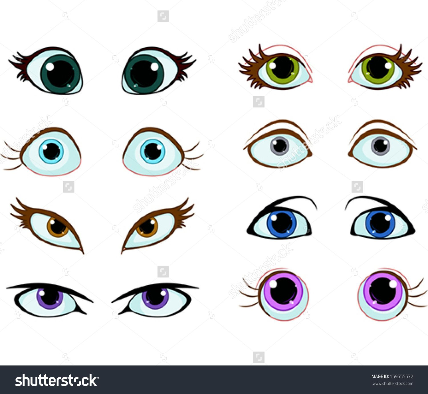 Set Of Cartoon Eyes With Different Expressions Stock
