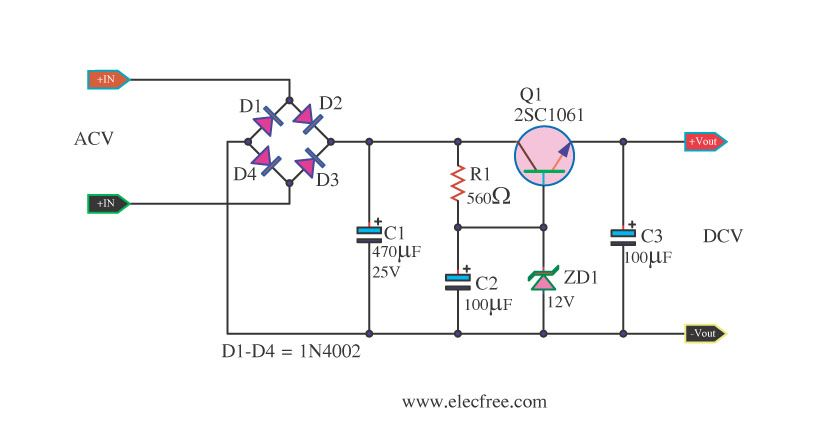 Small Zener diode voltage regulator circuit with PCB