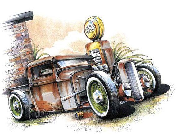 2d7a49ab1cc8 Vintage Rat Rod Pickup Car Mens Quality T by OldSaltSailorTees ...