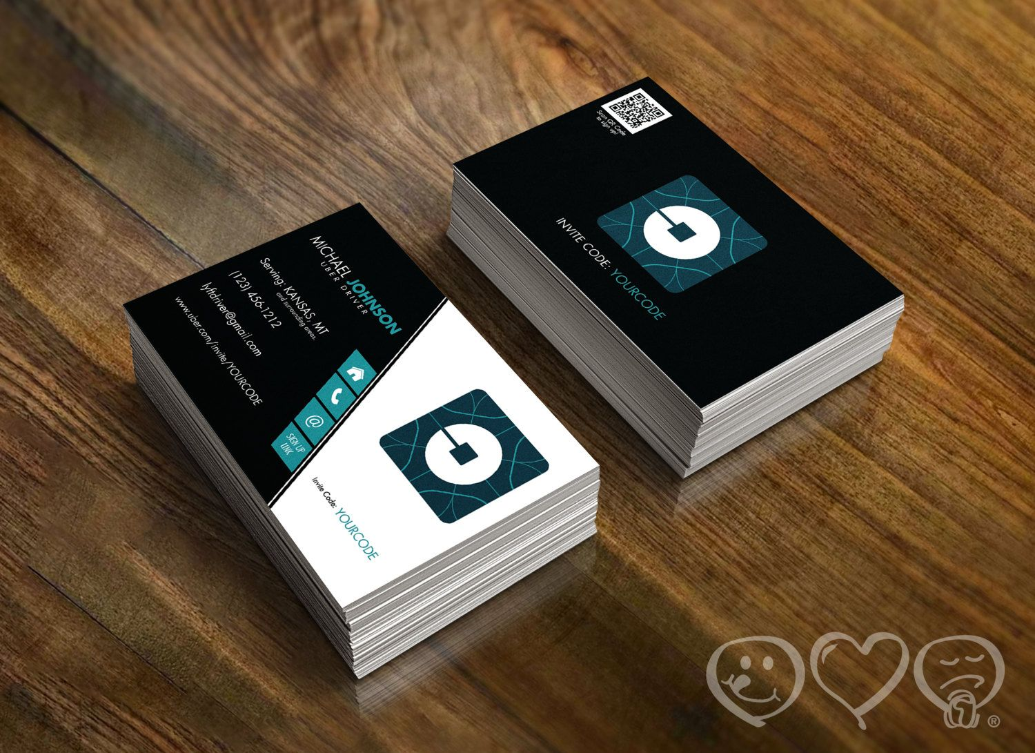 Custom made uber business cards uber driver by