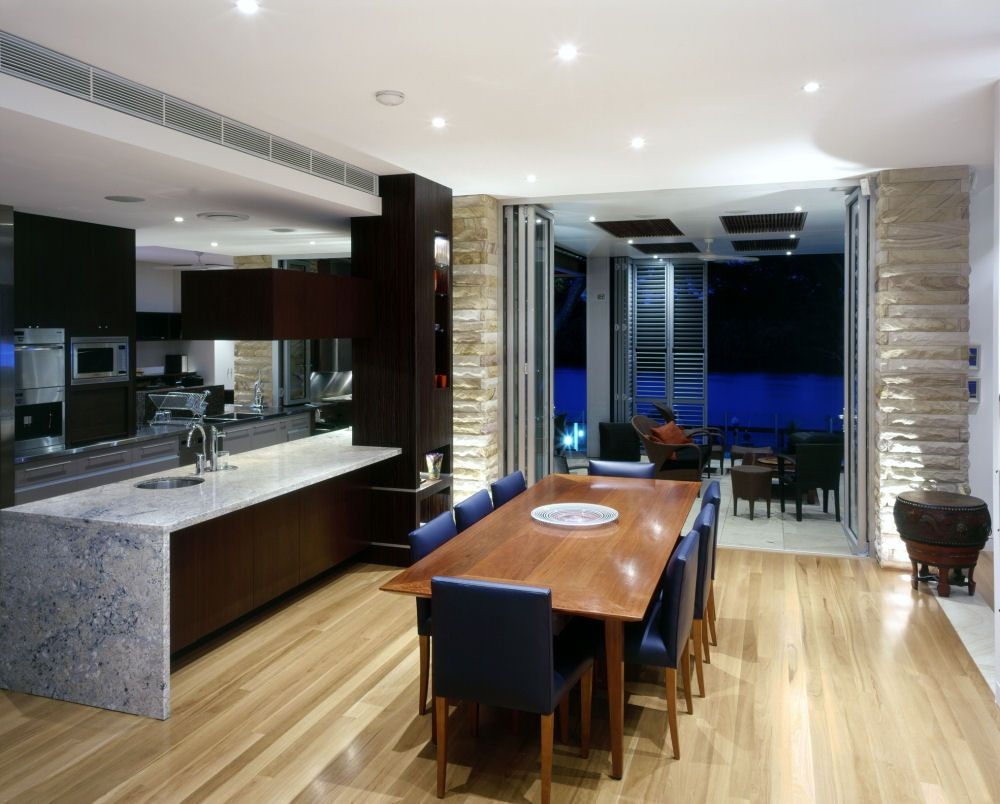Modern kitchen and dining space combination get the best for Dining area decorating pictures