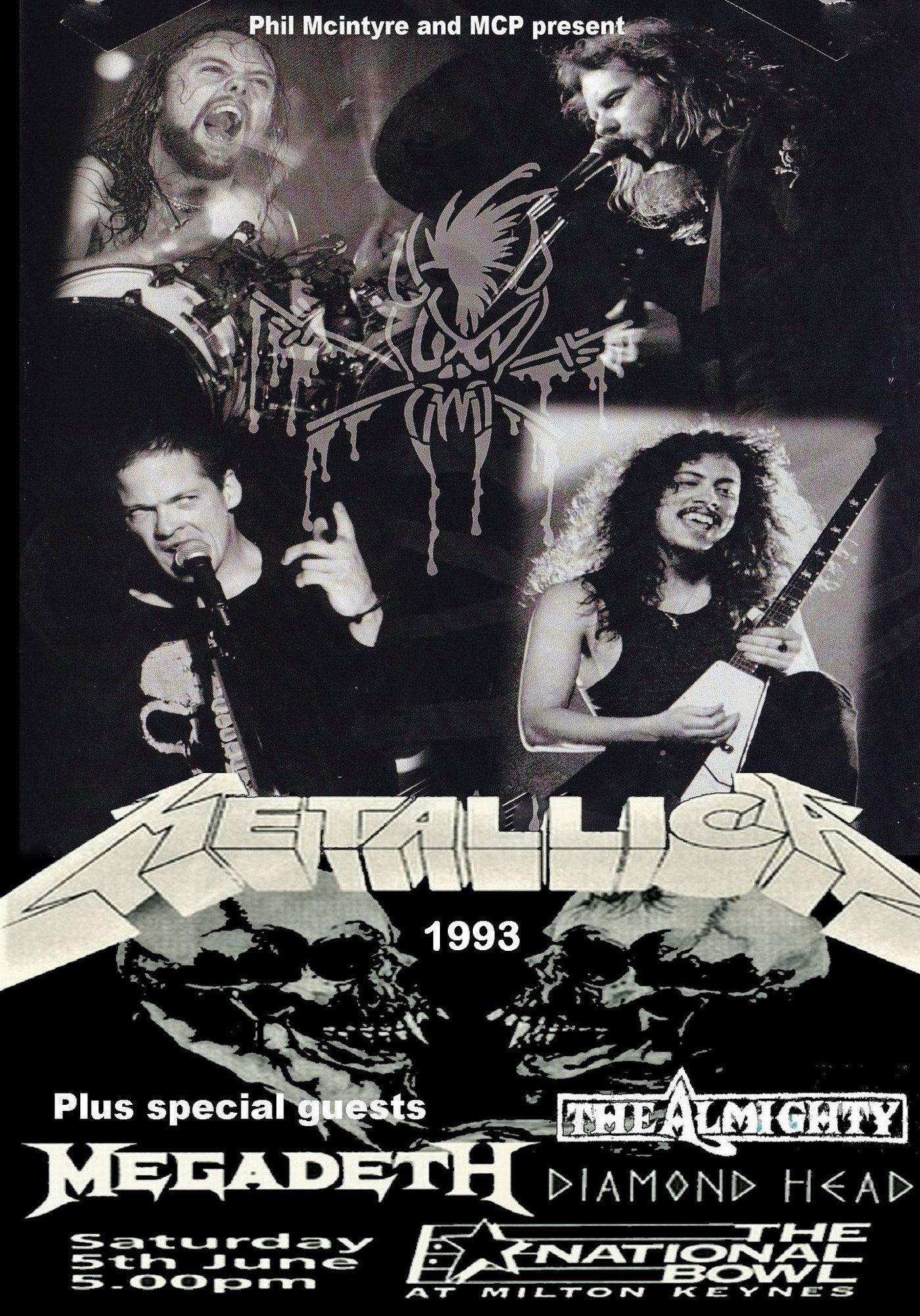 Metallica Vintage Poster Milton Keynes Bowl Uk 1993 Concert Posters Metallica Concert Metallica Vintage