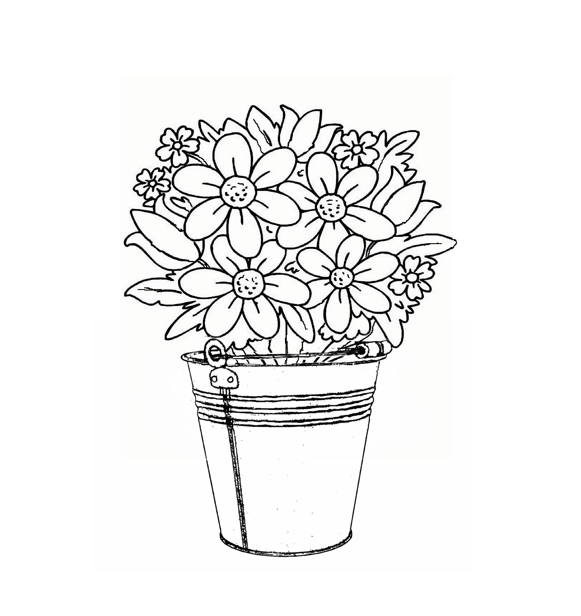 Bucket Of Flowers Coloring Book Pages Coloring Books