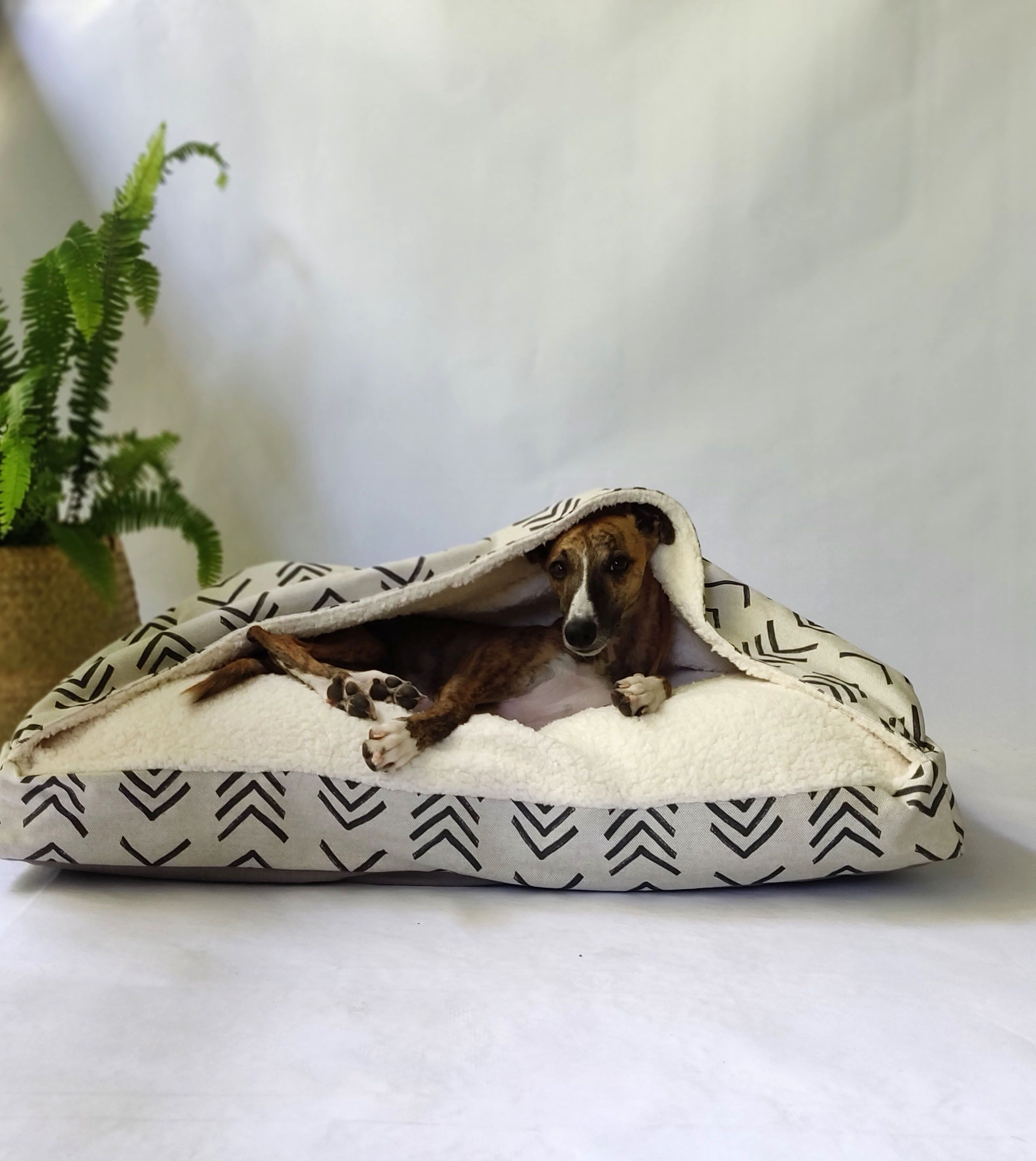 Mud Cloth Style Snuggle Cave Dog Bed Cover // Burrow Bed