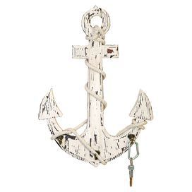 """Distressed anchor wall decor with three hooks.    Product: Wall décorConstruction Material: Wood, rope and metalColor: Weathered whiteDimensions: 24"""" H x 18"""" W x 3"""" DCleaning and Care: Wipe with dry cloth"""