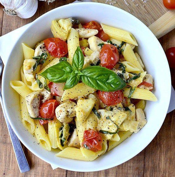 باستا بالدجاج والجبن Recipe Mediterranean Chicken Pasta Side