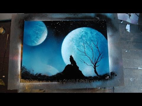 How to Spray Paint Art - Blue Wolf - YouTube #spraypainting