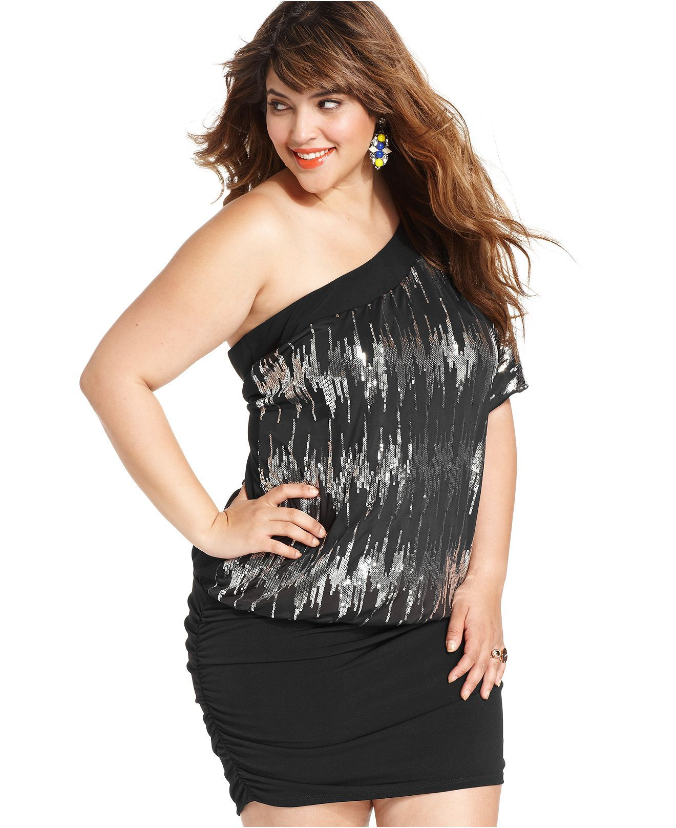 Trixxi Plus Size Dress, One-Shoulder Sequined Ruched - Girl\'s Night ...