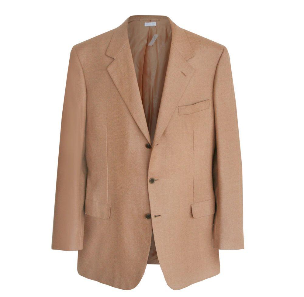 BRIONI $3,995 beige wool camel hair Palatino blazer sportcoat jacket 46/56 L NEW