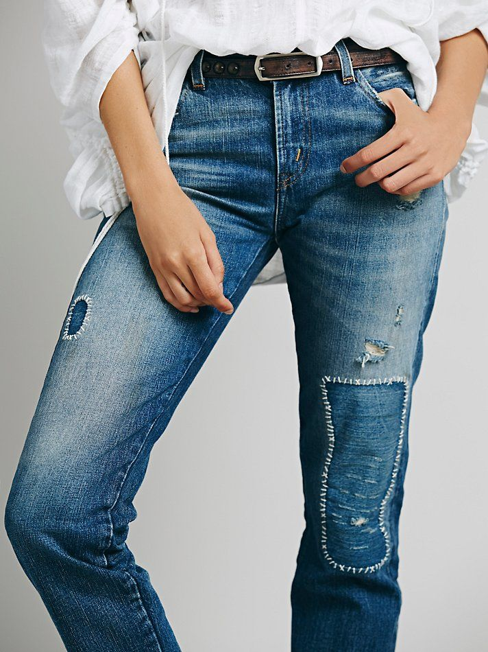 Levi's Vintage Denim 505 Customized Boyfriend Jeans at Free People Clothing Boutique