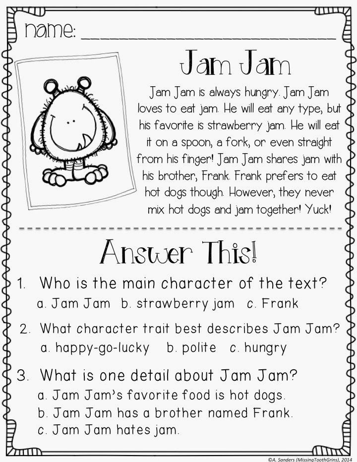 Teaching Main Character And A Freebie Missing Tooth Grins Character Trait Worksheets Nonfiction Text Features Lesson 2nd Grade Worksheets Main idea first grade worksheets