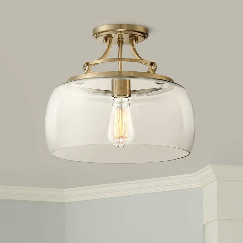 Franklin Iron Works Charleston Brass 13 1 2 Wide Clear Glass Led