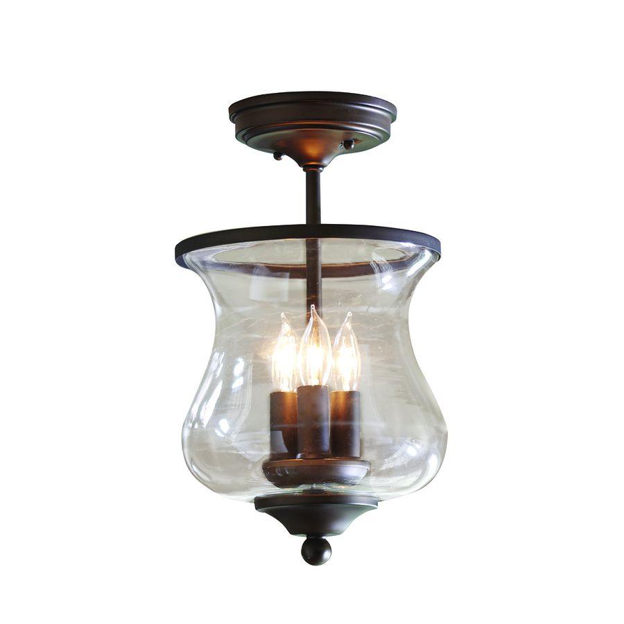 Shop Allen + Roth 8.68 In W Bronze Clear Glass Semi Flush Mount Light