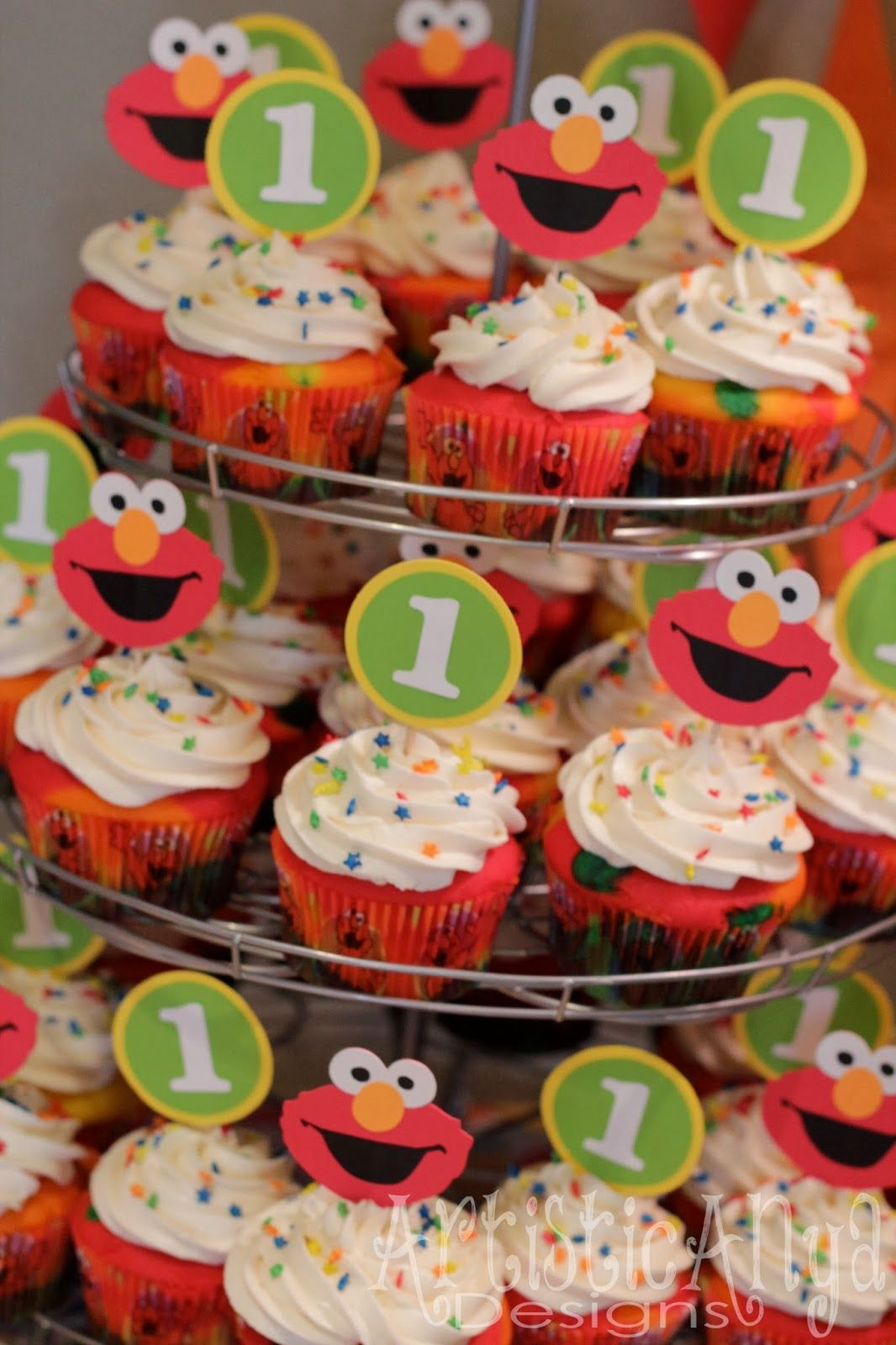 Elmo Sesame Street 1st Birthday And 1 Cupcake Toppers