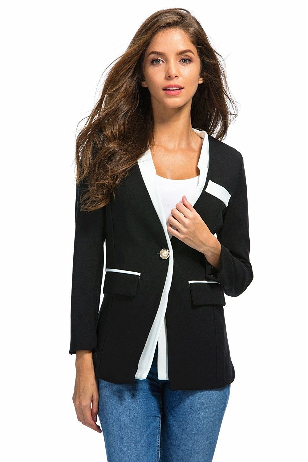a9983f1a8e9 HaoMing Long Sleeve Solid Color Casual Work Office Blazer Jacket For Women  Girls - 83 Black - CY182XCIU49