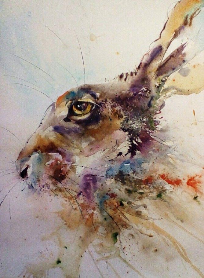 HELEN APRIL ROSE Limited Print GAZING HARE wildlife art watercolour  332