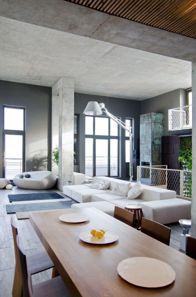 Wohnungseinrichtung Ideen Loft Wohn Essbereich  Designer Moebel Sichtbeton Decke