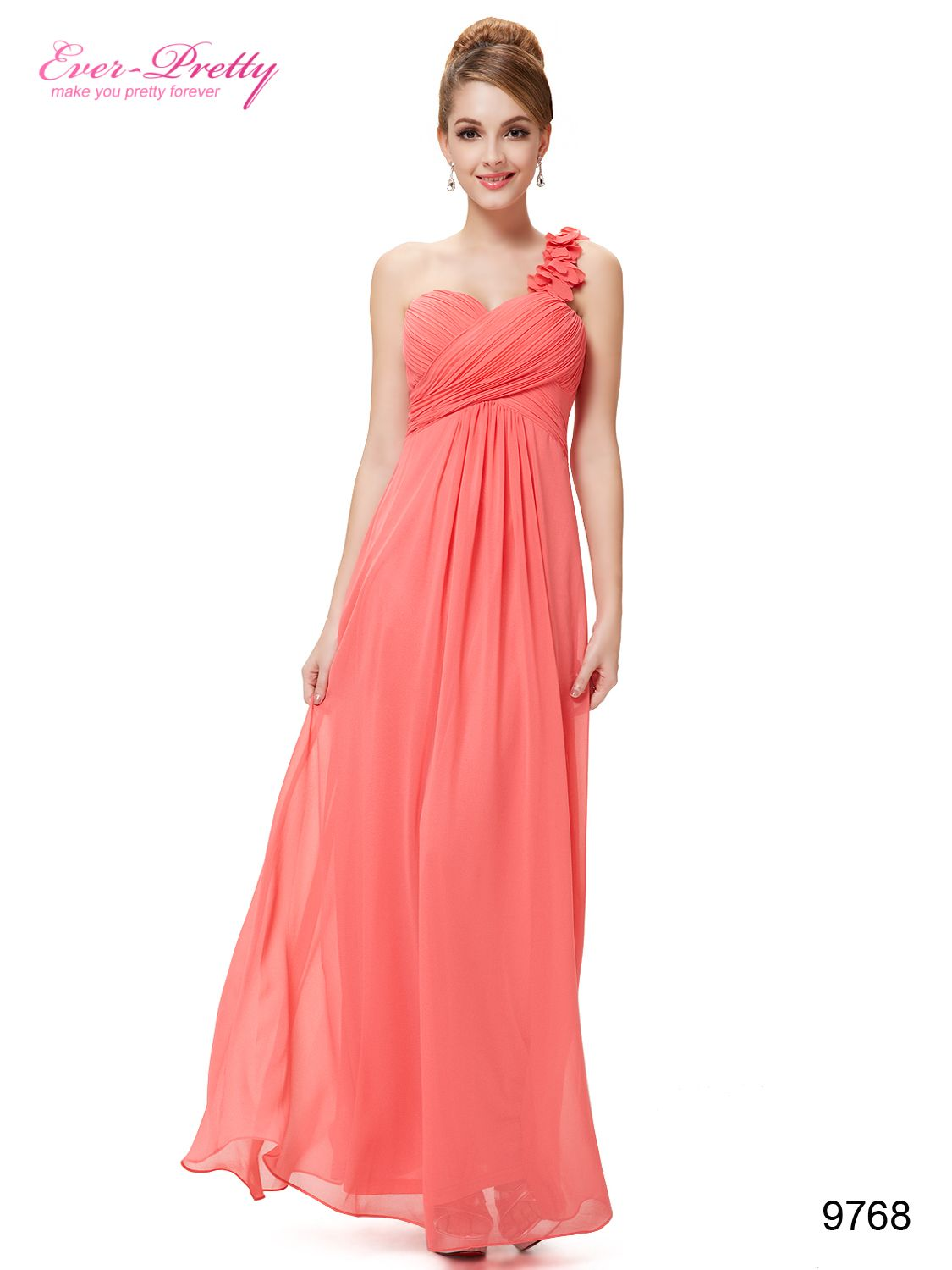 Flowers watermelon red one shoulder chiffon padded evening dress