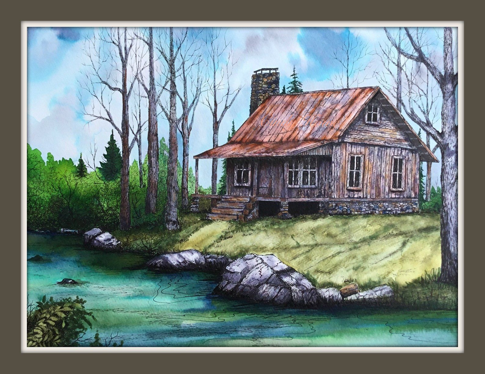 Log Cabin Print Mountains Country Cabin Landscape Creek