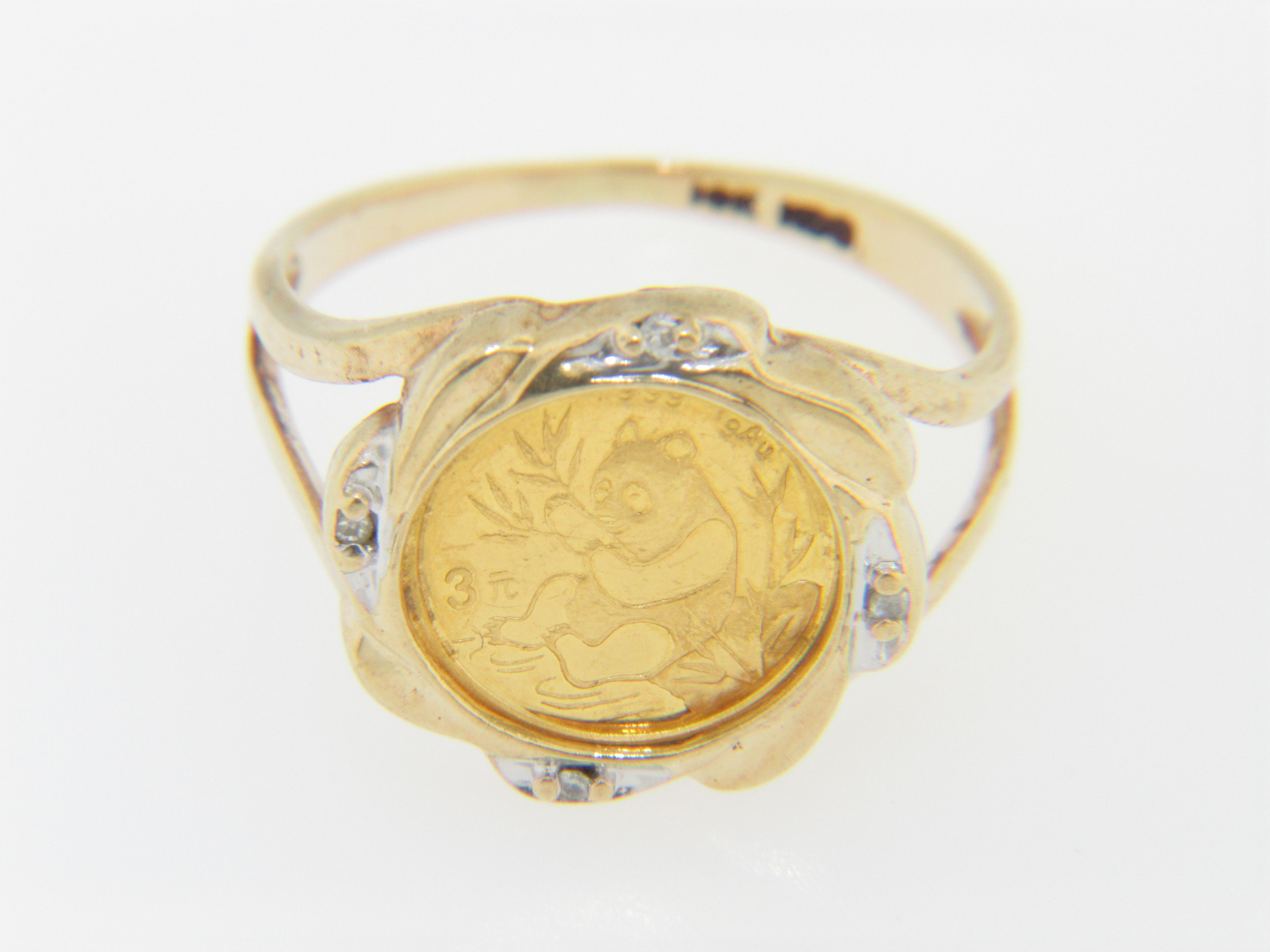 This Is A Vintage 1991 Chinese 999 Gram 3 Yuan Panda Coin Ring In 10k Yellow Gold Size 4 5 The Ring Weighs 2 5 Grams The Shank Me Coin Ring Rings Panda Ring