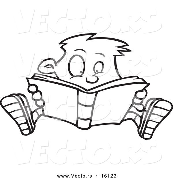 High Resolution Royalty Free Vector Graphic Of A Cartoon Enthralled Boy Reading Book