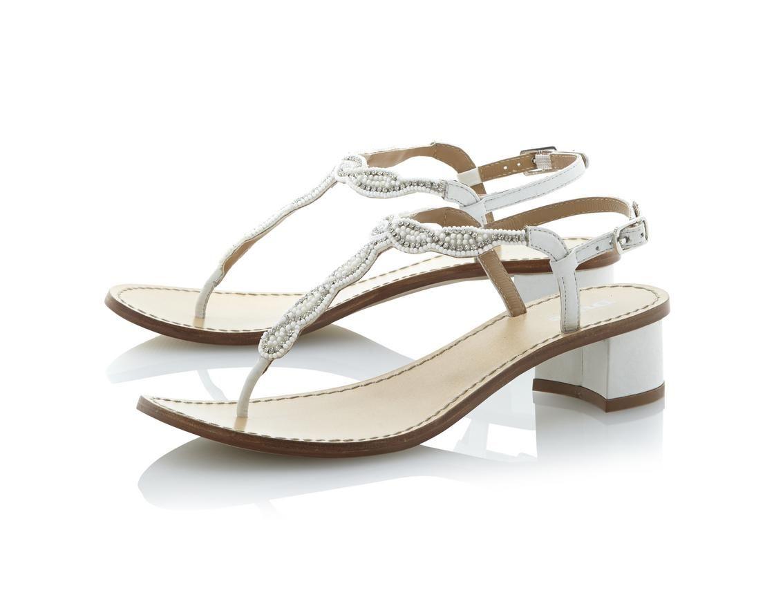 df18c98d4039 DUNE LADIES FUJI - Beaded T-Bar Block Heel Sandal white
