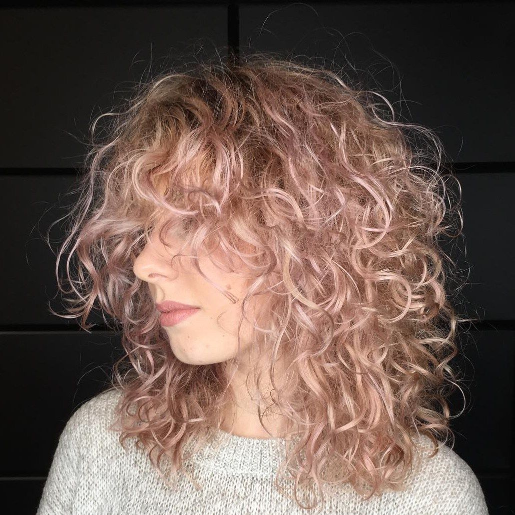 Mid Length Light Pastel Pink Curly Hairstyle Curly Hair Styles Naturally Medium Curly Hair Styles Fine Curly Hair