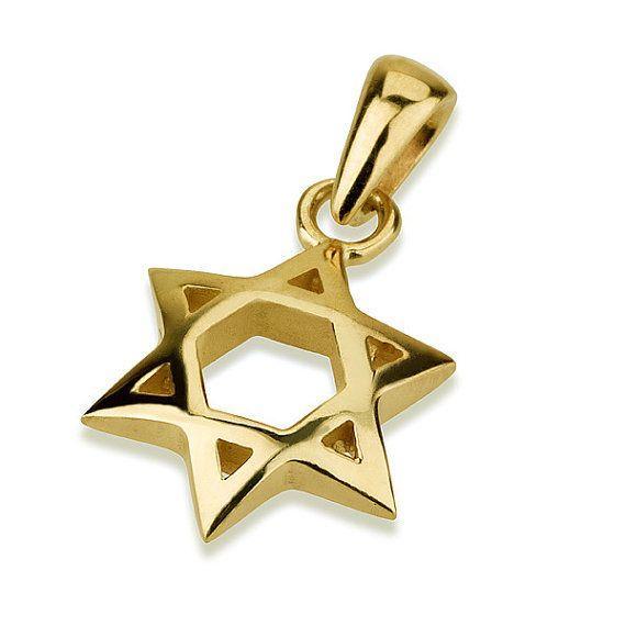 Shiny Star Of David 14k Gold Pendant Small Domed Jewish Star Etsy In 2021 Star Of David Pendant Jewish Jewelry Star Of David