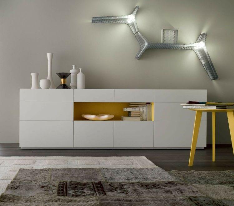 sideboard mit gelben akzenten im wohnzimmer | sideboard wohnzimmer, Wohnzimmer entwurf
