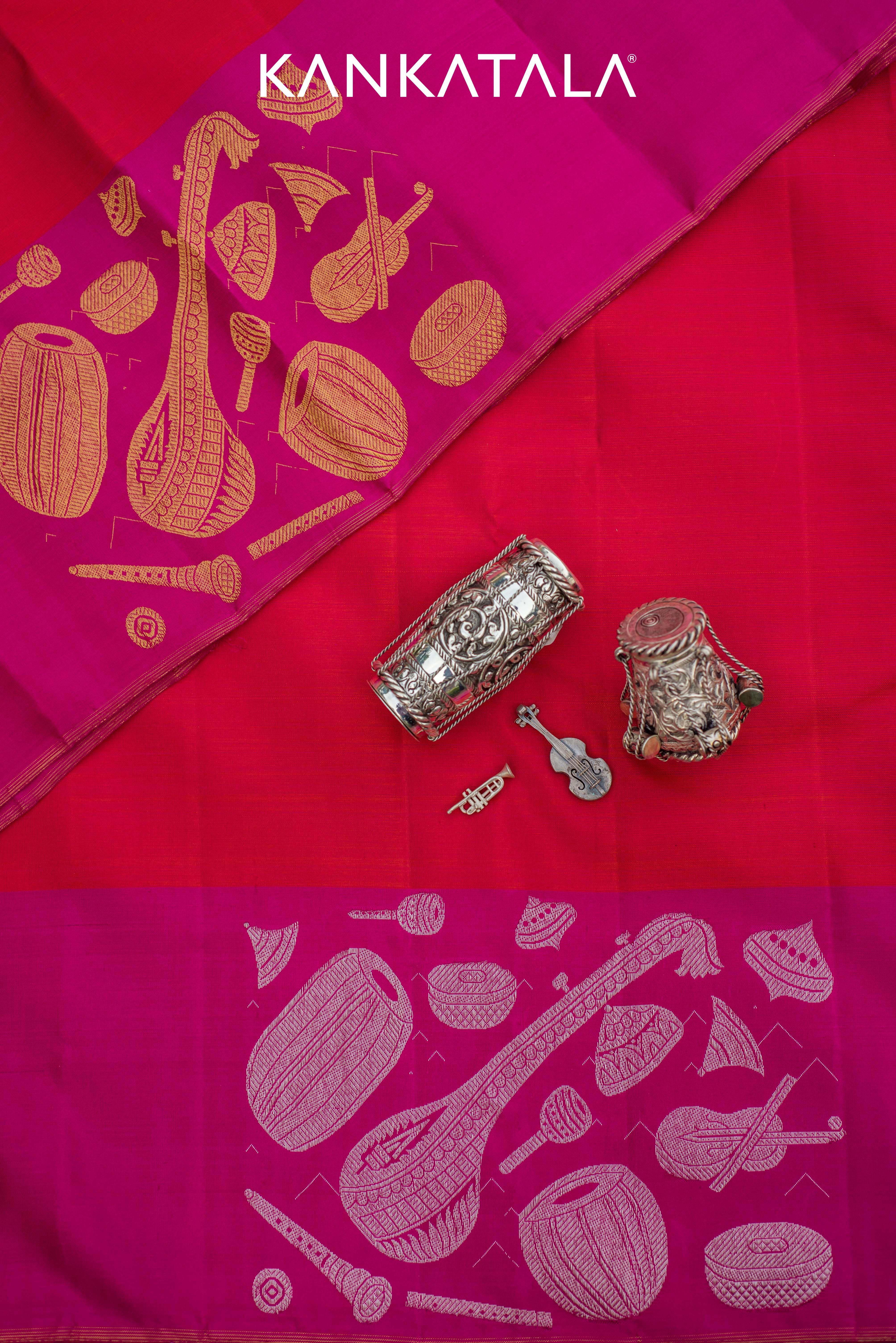 Fiery, unending kumkum red in a Kanchipuram silk wedding saree ...