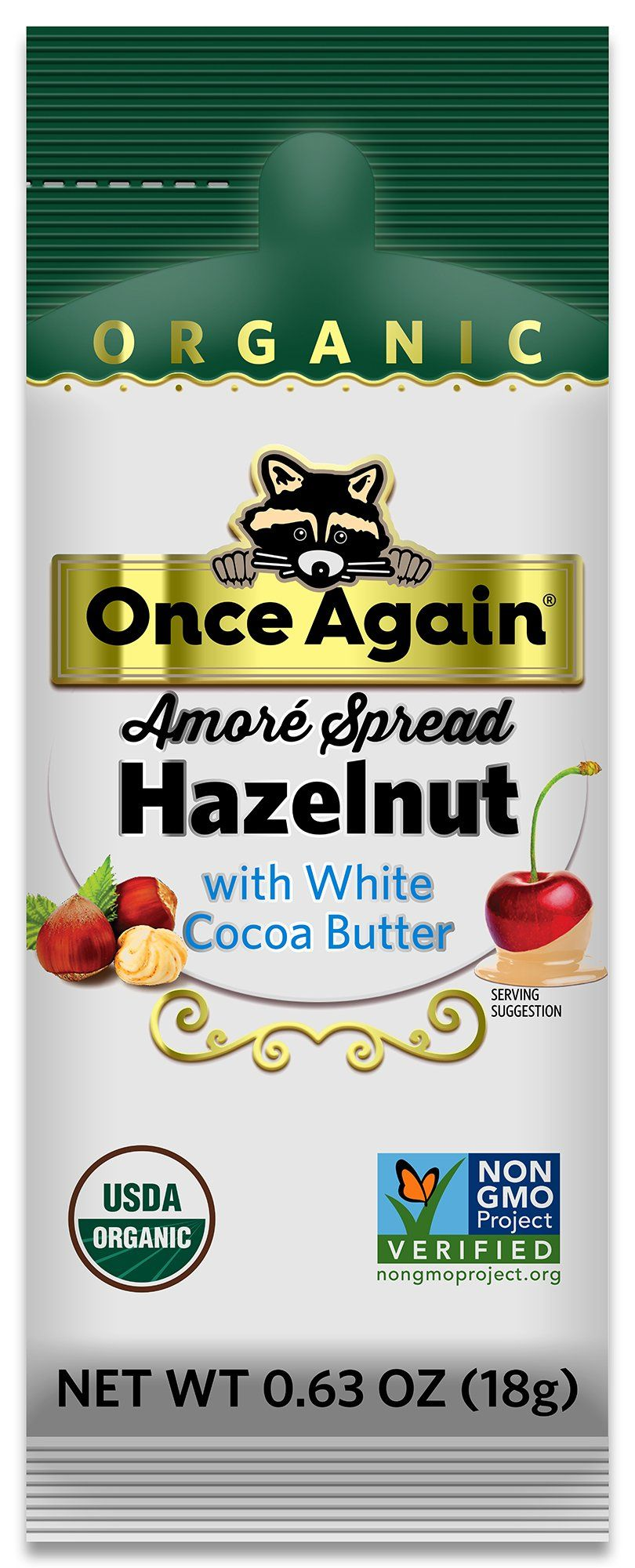 Photo of Amoré Organic Hazelnut Spread with White Chocolate – 1.15 oz Squeeze Packs, 10 Count – .63oz Squeeze Pack / Box of 10