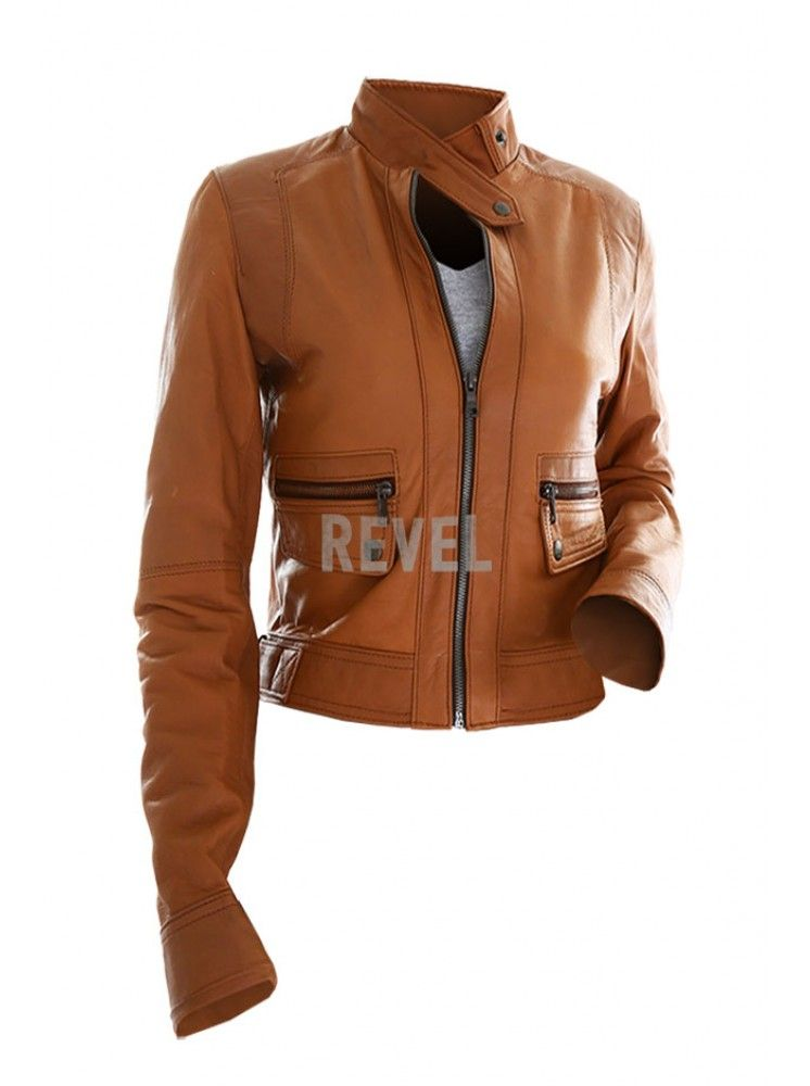 Designer Dresses Light Brown Leather Slim-Fit Jacket for Women ...