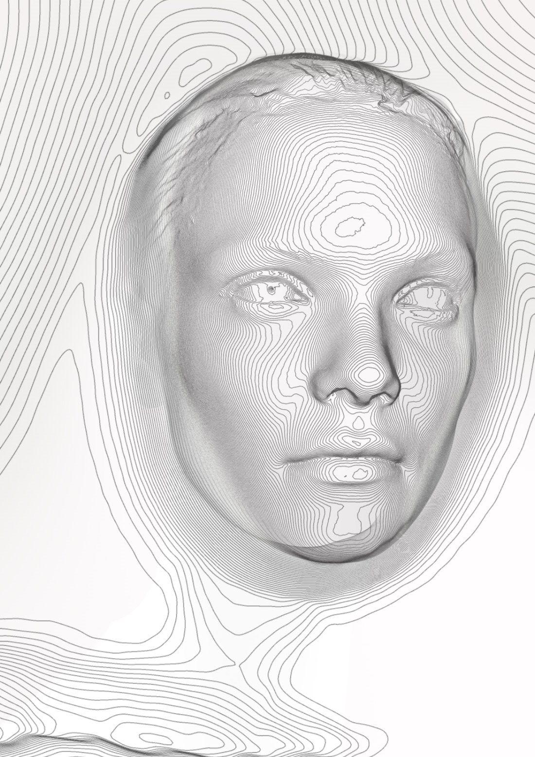 Contour Line Drawing Of Face : Contour lines face mountain core d p